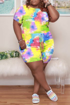 Green Fashion Casual Tie Dye Printing O Neck Plus Size Short Sleeve Romper