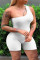 White Fashion Casual Solid Backless One Shoulder Plus Size Romper