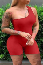 Red Fashion Casual Solid Backless One Shoulder Plus Size Romper