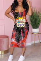 Red Casual Print Split Joint Spaghetti Strap Pencil Skirt Dresses