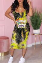 Yellow Casual Print Split Joint Spaghetti Strap Pencil Skirt Dresses
