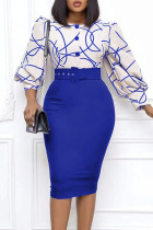 Blue Celebrities Print Split Joint Buttons O Neck Pencil Skirt Dresses