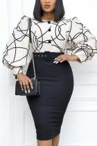 Black Celebrities Print Split Joint Buttons O Neck Pencil Skirt Dresses