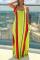 Orange Casual Striped Split Joint Spaghetti Strap Straight Dresses