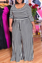 Black White Casual Striped Split Joint O Neck Plus Size Jumpsuits
