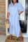 Blue Fashion Casual Striped Print Basic Turndown Collar Shirt Dress