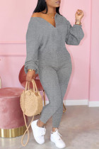 Gray Fashion Casual Zipper Collar Long Sleeve Regular Sleeve Regular Solid Jumpsuits