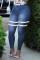 Medium Blue Fashion Casual Striped Basic Plus Size Jeans