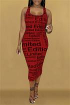Red Fashion Sexy Print Basic U Neck Sleeveless Dress
