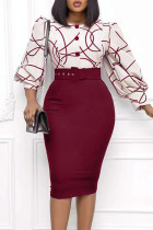 Red Celebrities Print Split Joint Buttons O Neck Pencil Skirt Dresses