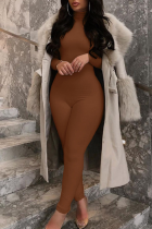 Brown Casual Solid Half A Turtleneck Skinny Jumpsuits