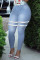 Light Blue Fashion Casual Striped Basic Plus Size Jeans