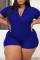 Blue Fashion Casual Solid Basic Zipper Collar Plus Size Romper