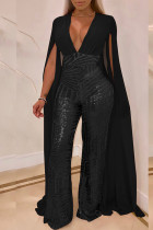 Black Long Sleeve Mid Patchwork Loose Jumpsuits