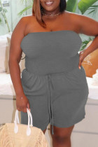 Grey Sexy Casual Solid Backless Strapless Plus Size Jumpsuits