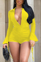 Yellow Sexy Solid Split Joint Draw String Fold V Neck Skinny Jumpsuits