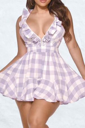Purple Fashion Sexy Plaid Print Backless Strap Design V Neck Sleeveless Dress