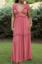 Watermelon Red Sexy Casual Solid Hollowed Out Split Joint V Neck Long Dress