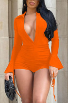 Tangerine Sexy Solid Split Joint Draw String Fold V Neck Skinny Jumpsuits