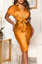 Gold Elegant Solid Bandage Split Joint Fold Shirt Collar Shirt Dress Dresses