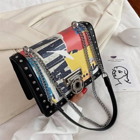 Black Fashion Casual Print Chains Crossbody Bags