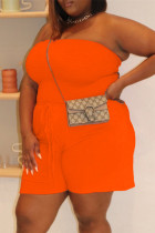 Orange Sexy Casual Solid Backless Strapless Plus Size Jumpsuits