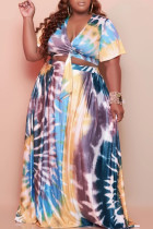 Blue Casual Print Bandage Split Joint V Neck Pleated Plus Size Two Pieces