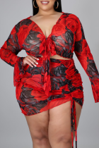 Red Casual Split Joint V Neck Plus Size Two Pieces
