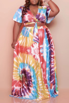 Pink Casual Print Bandage Split Joint V Neck Pleated Plus Size Two Pieces