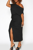 Black Casual Solid Split Joint Slit Fold O Neck Short Sleeve Dress Plus Size Two Pieces
