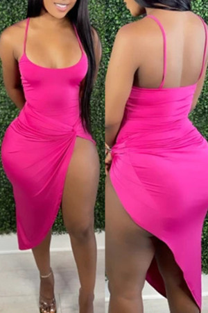 Rose Red Fashion Sexy Solid Backless Swimwears