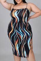 Black Sexy Patchwork Tie-dye Spaghetti Strap Pencil Skirt Plus Size Dresses