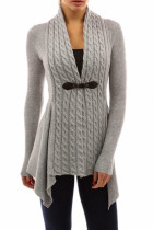 Grey Trendy Patchwork Cardigan Sweaters