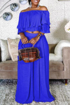 Blue Fashion Casual Solid Split Joint Off the Shoulder Half Sleeve Two Pieces