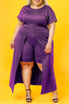 Purple Fashion Casual Solid Slit O Neck Plus Size Two Pieces