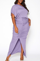 Purple Casual Solid Split Joint Slit Fold O Neck Short Sleeve Dress Plus Size Two Pieces