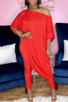 Red Fashion Casual Print Asymmetrical Oblique Collar Three Quarter Two Pieces