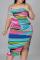 Blue Sexy Patchwork Tie-dye Spaghetti Strap Pencil Skirt Plus Size Dresses
