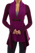 Purple Trendy Patchwork Cardigan Sweaters
