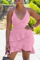 Pink Fashion Sexy Solid Backless Spaghetti Strap Sleeveless Dress