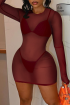 Burgundy Sexy Solid Split Joint Swimwears