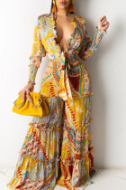 Yellow British Style Print Bandage Split Joint V Neck Long Sleeve Two Pieces