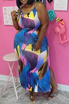 Blue Sexy Print Split Joint Halter Pencil Skirt Plus Size Dresses