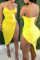 Yellow Fashion Sexy Solid Backless Swimwears
