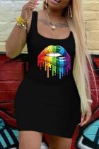 Black Fashion Casual Lips Printed Basic U Neck Vest Dress