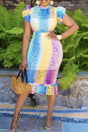 Yellow Purple Fashion Casual Print Split Joint Half A Turtleneck Short Sleeve Dress