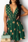 Green Sexy Dot Hollowed Out Split Joint Cake Skirt Dresses