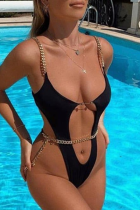Black Sexy Solid Split Joint Chains Swimwears