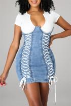 Blue Fashion Patchwork Bandage V Neck Short Sleeve Denim Dress