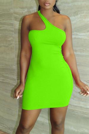 Fluorescent Green Sexy Solid Split Joint Asymmetrical Collar Pencil Skirt Dresses
